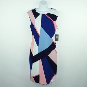 VINCE CAMUTO Color Block Scoop Neck Shift Dress